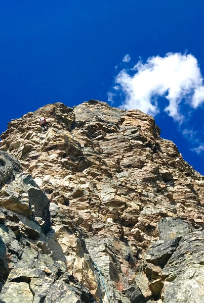 Scott up on the crux pitch on Grassi Ridge.