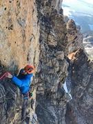 Rock Climbing Photo: Finishing up the black face pitch