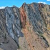 North Buttress is to the left of the prominent orange chute, which is a ski line during the winter.