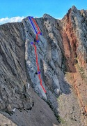 Rock Climbing Photo: The Full On Father follows the red line. Dotted re...