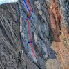 The Full On Father follows the red line. Dotted red line shows 3rd class traverse. Blue X's show belays. The blue line on the upper headwall shows the easier alternative finish.