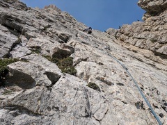 Evan heading towards the crux on the second pitch.