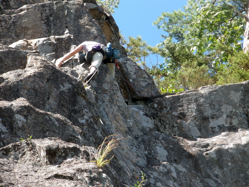"""S Matz on our P2 climbing the left side variant...""""unlikely looking, but easiest way"""""""