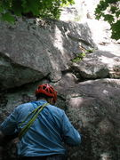 Rock Climbing Photo: RW about to start Endeavor.  The old ring pin is a...