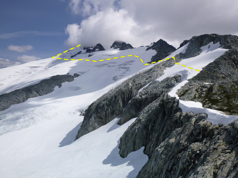 Challenger Glacier route from west end of glacier (Perfect Pass)