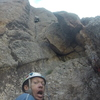 Jason leading up the crux dihedral.