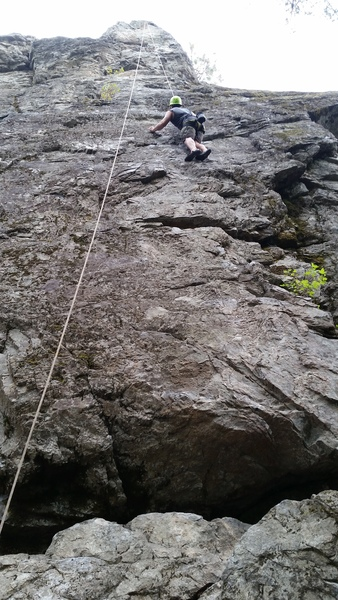 Me climbing Billy Goat, top roped.