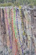 Rock Climbing Photo: The route in relation to surrounding routes.