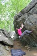 Rock Climbing Photo: The crux sequence on Iron Cross.
