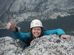 Rock Climbing Photo: Eva Geraghty on the summit of Tenaya Peak