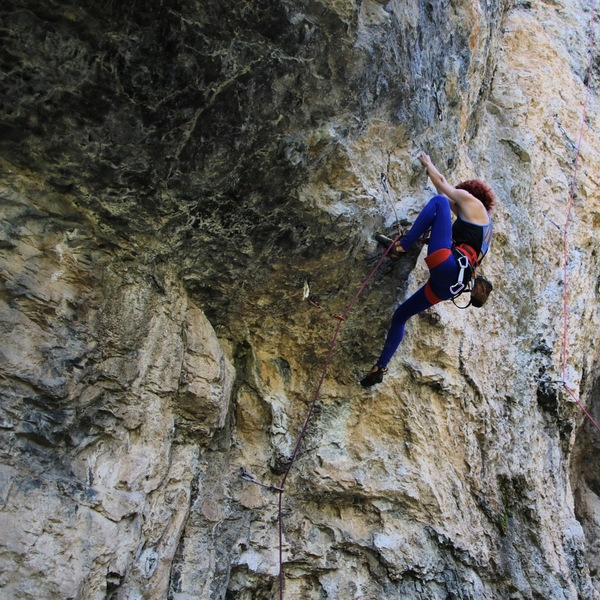 Pulling the Crux at the second bolt!