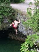 Brandon Climbing Wet Dog (above roof)