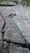 Rock Climbing Photo: Mid crux on a redpoint send