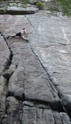 Rock Climbing Photo: Early in the crux on a redpoint send
