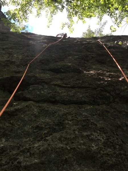 I used double rope technique to eliminate rope drag from the traverses.