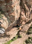Rock Climbing Photo: Josh in the hand crack near the end of the third p...