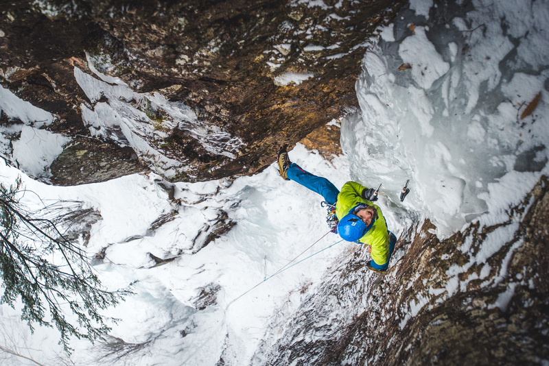Jordan Cargill of Northeast Mountaineering eyes the crux column of Hobbit Couloir. © Brent Doscher Photography
