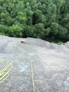 Rock Climbing Photo: Looking down on p5 (you can see the runouts)