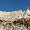 approach toward Russell-Carillon pass <br> + middle of SE Long Ridge + Impala<br> . .<br> C. Long Ridge of Mt Carillon