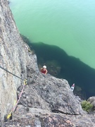 Rock Climbing Photo: Katie climbing up the end of P1 after traversing r...