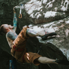 Midway through the business on the First ascent<br> Photo: Steph Chad
