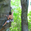 John Meagher on the second ascent...