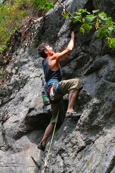 My dad playing in the tricky bit and approaching the crux.<br> Photo: Torie Kidd