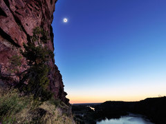 Rock Climbing Photo: Total eclipse from under Red Clove Wall. Aug, 21, ...