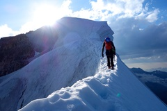 Rock Climbing Photo: Nearing the summit along the final section of the ...