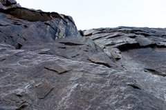 Rock Climbing Photo: The steep quartzite cliff at the start of the rout...