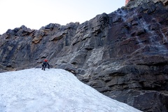 Rock Climbing Photo: The route starts by climbing through the quartzite...