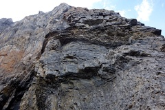 Rock Climbing Photo: Chossy headwall about 3/4 of the way up the buttre...