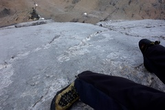 Rock Climbing Photo: Looking down the limestone slab on Headwall Pitch ...