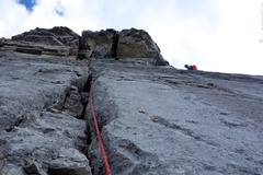 Rock Climbing Photo: Nearing top of Headwall Pitch 3 and the end of the...