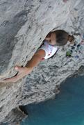 francesca natale climbing in punta campanella, sorrentine peninsula