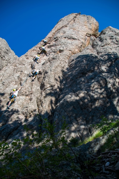 Me working La Maudite. You can see my helmet poking over the ledge right below the finish at the top right.