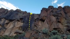 Rock Climbing Photo: Obvious black corner. 6 clips to a two bolt anchor...