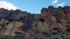 Rock Climbing Photo: Start right of Black Mamba. Go right at the roof. ...