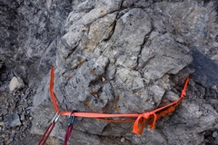 Rock Climbing Photo: Rap 2 (of 4). This slung block is to skiers right ...