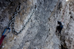 Rock Climbing Photo: Rap 3 (of 4). This anchor was on skiers right abou...