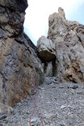 Rock Climbing Photo: Rap 4 (of 4). This rappels past the giant chocksto...