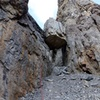 Rap 4 (of 4). This rappels past the giant chockstone to the end of the gully.