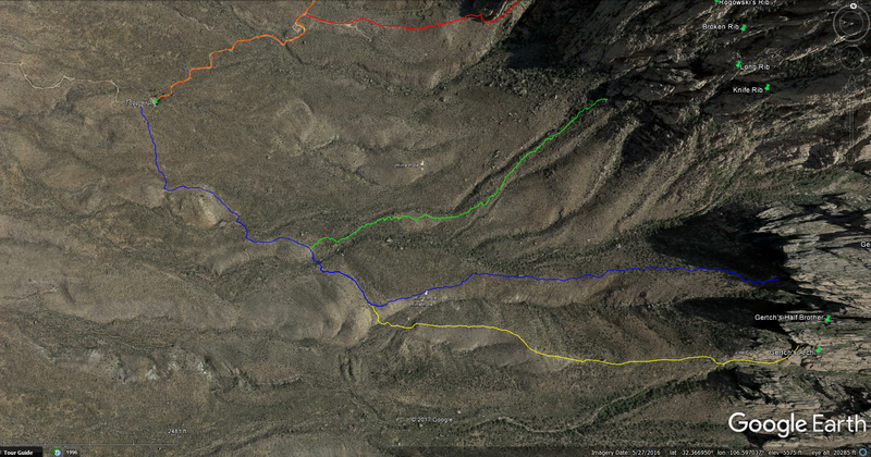 Map of the approach, which starts from the west on the rough 4x4 road (off Baylor Canyon Rd) leading up to the abandoned mine (Topp Hut). To find the start, look for a metal pole in the ground to your right just before reaching Topp Hut. The blue line here is the normal Gertch trail. The yellow line takes you to Gertch's Arch. 99% of the welt below Gertch's Arch is cat's-claw-free.
