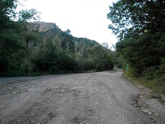 Rock Climbing Photo: Boot Hill parking--mile marker 12 is back; crag is...