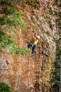Rock Climbing Photo: Allison climbing through the crux bulge. August 20...