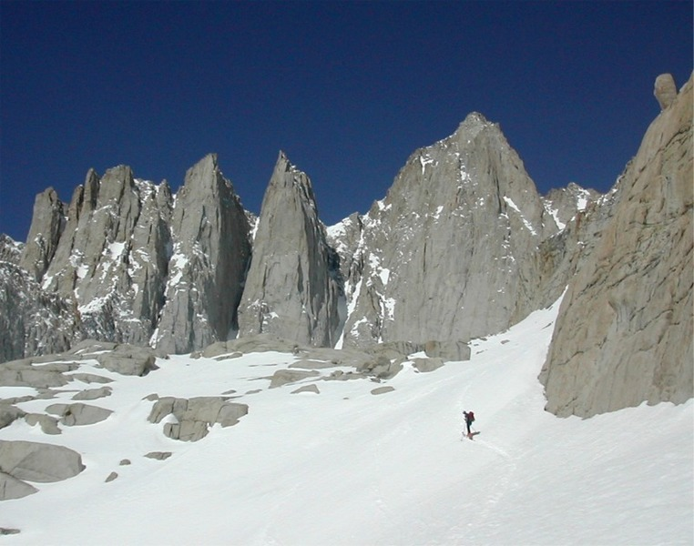 skiing up below needles and east wall of Whitney