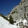 skinning up North Fork Lone Pine Creek<br> . (no need to use Escherbacher ledges)