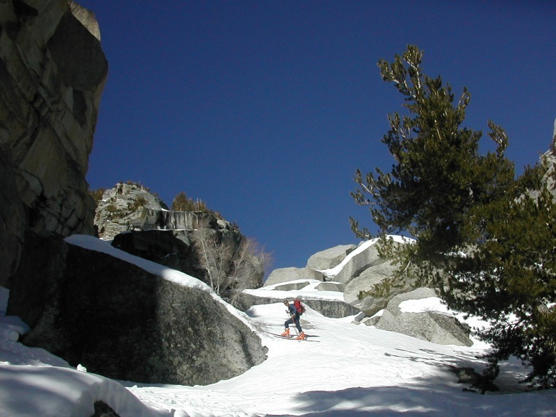 skiing up through boulders in lower part of North Fork Lone Pine Creek