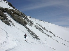 Rock Climbing Photo: starting traverse W across top of North face of Mt...