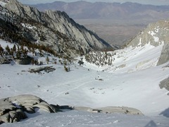 skiing upper North Fork down toward Lower Boy Scout Lake